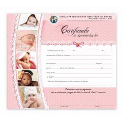 Certificado de apresentação de crianças c/ 10 unids c/logo IPRB Menina