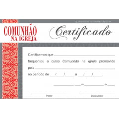 Certificado de Conclusão COMUNHÃO NA IGREJA - integração IV
