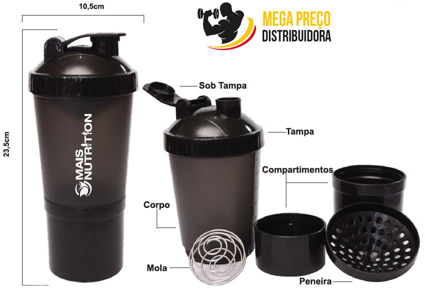Coqueteleira 3 doses 450mL - Mais Nutrition