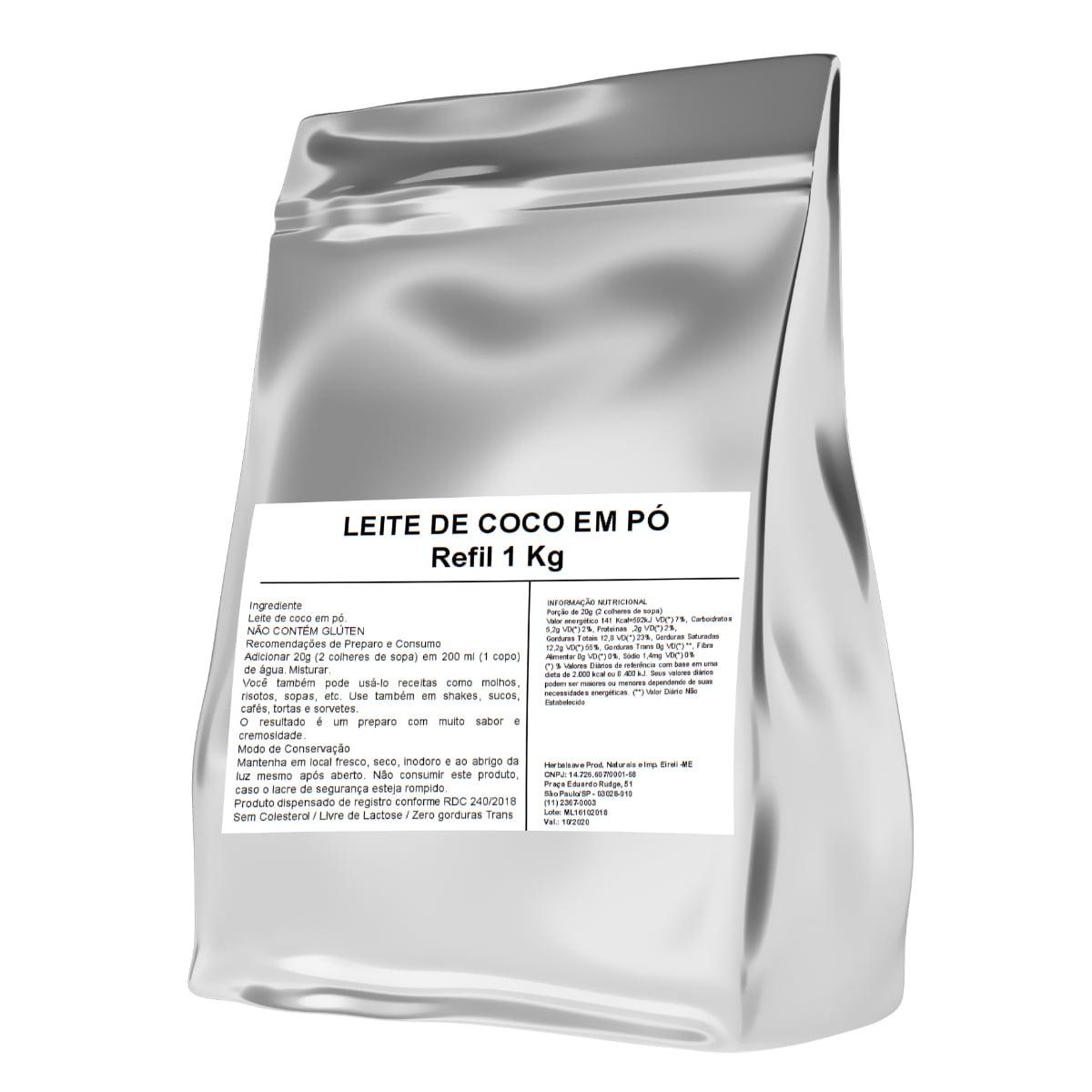 Leite de Coco Puro 1Kg 1 Kilo Quilo Po WVegan