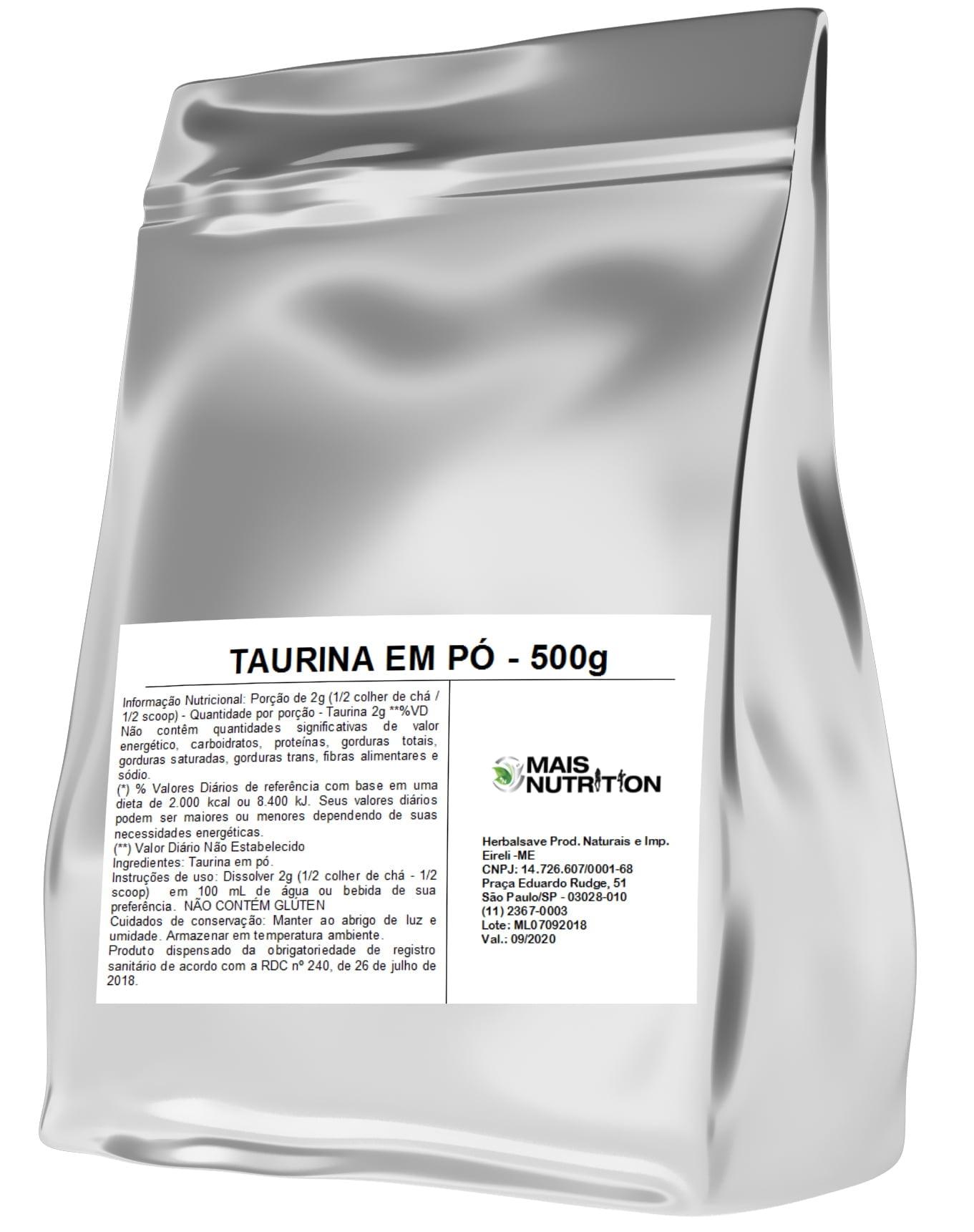 POR R$49,90 - Taurina 500 gramas 500g Embalagem Refil Mais Nutrition