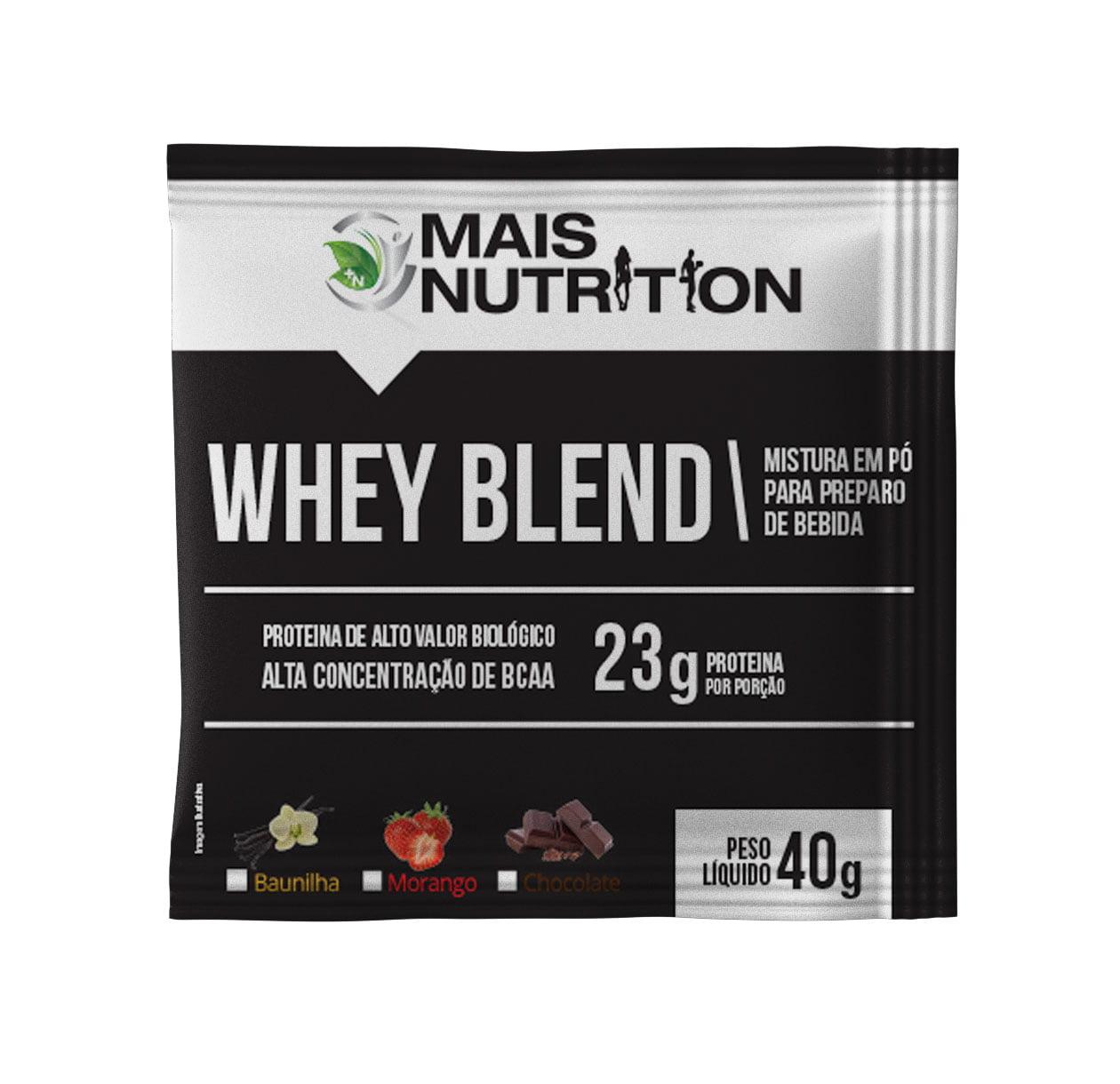 Whey Blend Sache 40 gramas Mais Nutrition Sabores Baunilha Chocolate e Morango