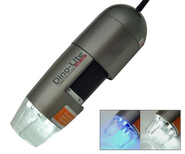 Microscópio Portátil Digital 10x-50x 200x, USB 1280x1024 (1,3M) Pixels, 8 UV Led's Brancos, MicroTouch, Mod. DinoLite AM413T-FVW