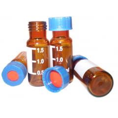 Vial 2 ml (9mm) Graduado com Septo Duplo PTFE/Silicone e Tampa Rosca Azul Pcte c/ 100 Unids