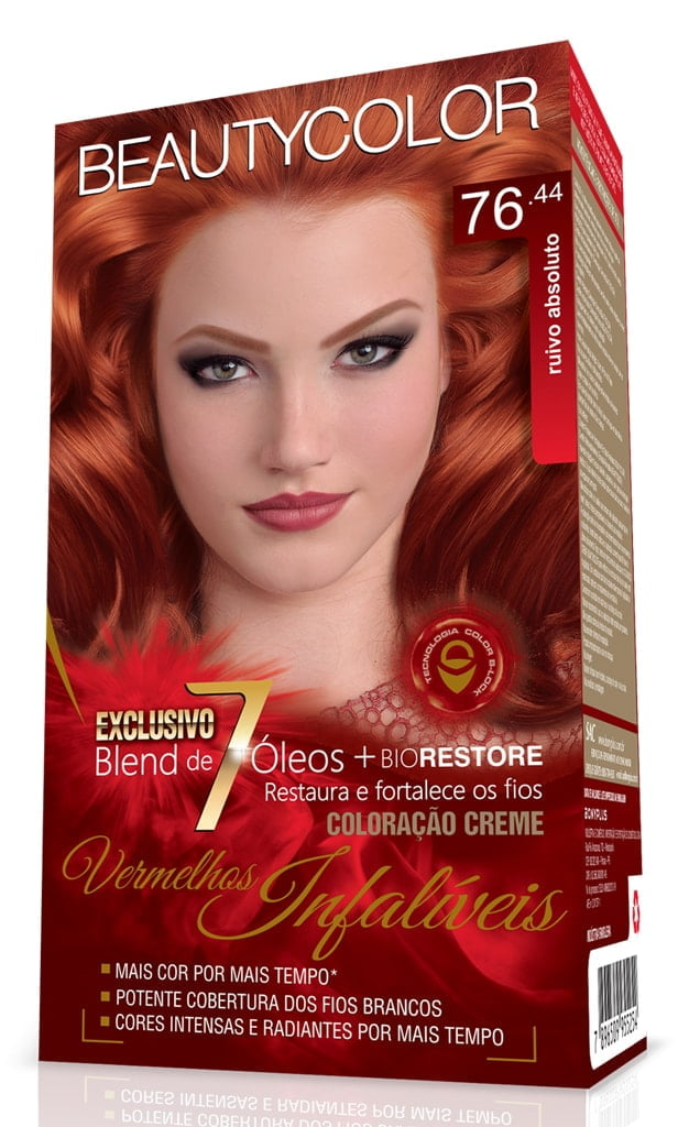 Tinta Beauty Color Vermelhos Infaliveis Kit 76.44 Ruivo Absoluto