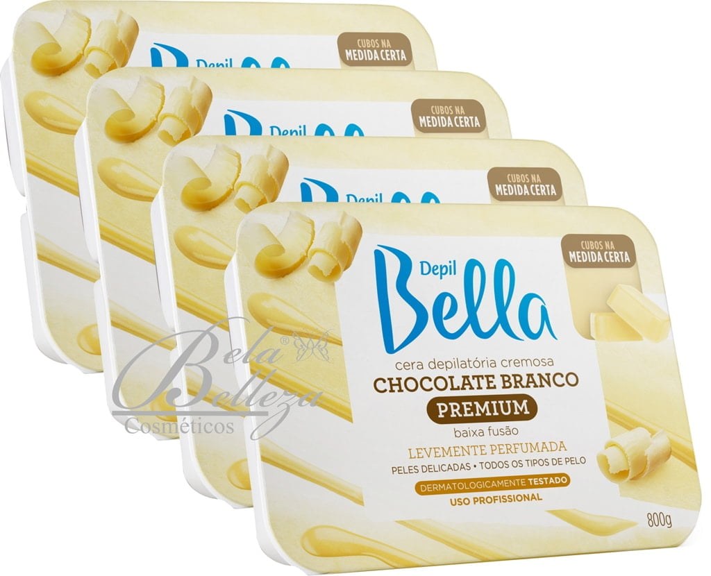Cera Depil Bella Quente 800g Chocolate Branco (4 X 800G)