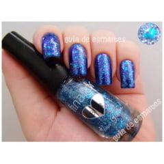 Esmalte Fina Flor Glitter Blue
