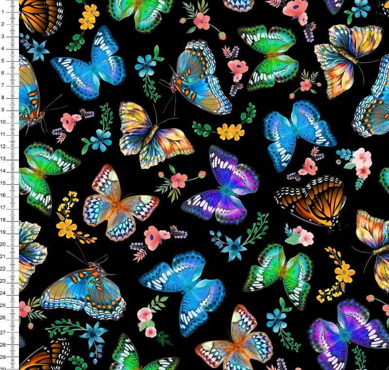 Borboletas Digital Des 9008E019 - Fundo Preto