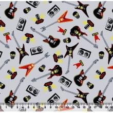 Rock Guitarra Des. 3020 Var01 - Fundo Cinza
