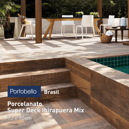 Porcelanato Portobello Super Deck Ibirapuera Mix 90x90 Externo retificado