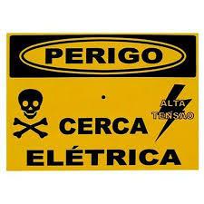 placa aviso cerca elétrica