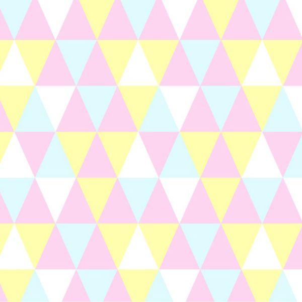 Tecido Tricoline Mista Estampado Losango Rosa Amarelo Azul 17044