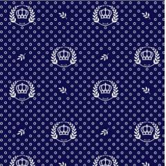 Tecido Tricoline Estampado Corôa azul marinho 1169vr602