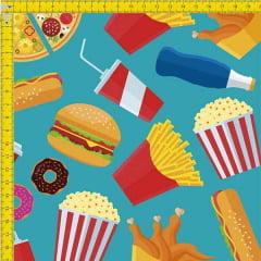 Tecido Tricoline Digital Fast Food 9100e829