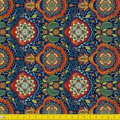 Tecido Tricoline Estampado Digital Arabesco e Mandalas Coloridas  9100e970