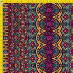 Tecido Tricoline Estampado Digital Arabesco Étnico 9100e827