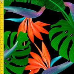 Tecido Tricoline Estampado Digital Costela de Adão Fundo Preto 9100e1207