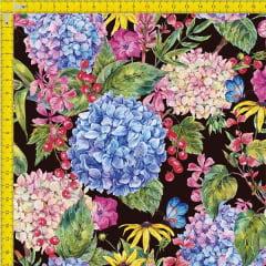 Tecido Tricoline Estampado Digital Floral 9100e911