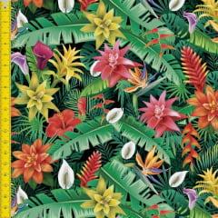 Tecido Tricoline Estampado Digital Floral Antúrios 9100e1316