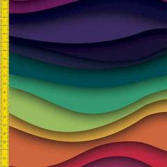 Tecido Tricoline Estampado Digital Ondas Coloridas 9100e824