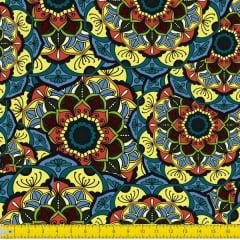 Tecido Tricoline Digital Estampado Arabesco Amarelo Azul Vermelho 9100E1036