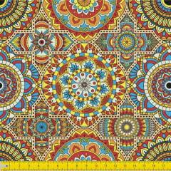 Tecido Tricoline Digital Estampado  Mandalas  9100E1040