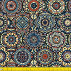 Tecido Tricoline Digital Estampado Mandalas Arabesco 9100E1043