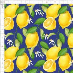 Tecido Tricoline Digital Limões Fundo Azul 9100e1784