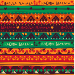 Tecido Tricoline Estampado Digital Africano Hakuna Matata