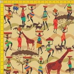 Tecido Tricoline Estampado Digital Étnico Africanas e Safari 9100E036