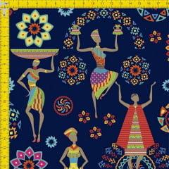 Tecido Tricoline Estampado Digital Africanas Fundo Azul 9100e729