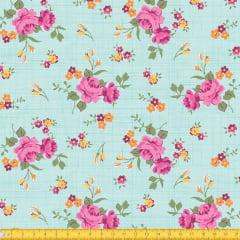 Tecido Tricoline Estampado Floral Rosa Fundo Verde Riscado 8017v4