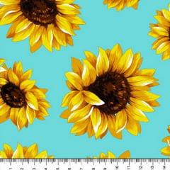Tricoline Estampado Floral Girassol Fundo Azul Claro 6410-4
