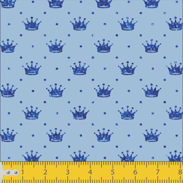 Tecido Tricoline Estamapado Corôa Azul Escuro Fundo Azul Claro 1143v001