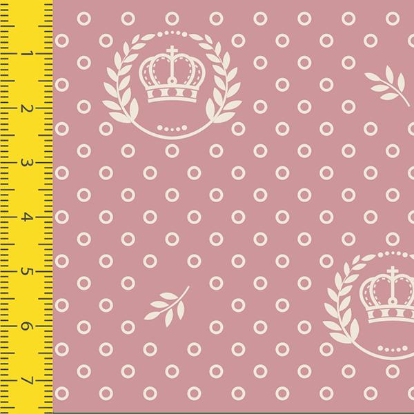 Tecido Tricoline Estampado Corôa Rosa Seco 1169v130