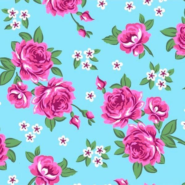 Tecido Tricoline Estampado Floral Rosa e Branco Fundo Azul 2640v1