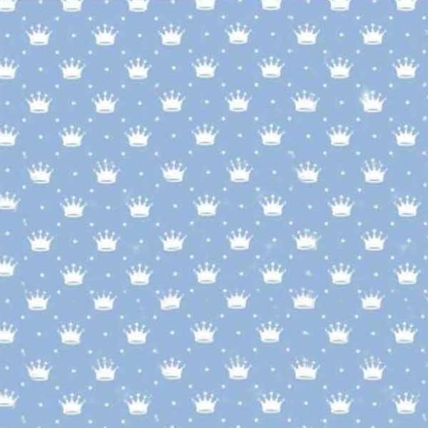 Tecido Tricoline Estampado Mini Corôa Fundo azul bebê 1143vr082