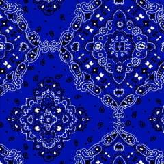 Tecido Tricoline Estampado 100% Algodão Bandana Azul Royal 2272-09