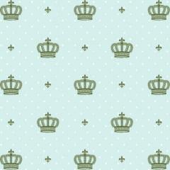 Tecido Tricoline Estampado 100% Algodão Coroas Fundo Verde 1806-01