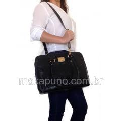 Pasta Executiva Feminina em couro preto para notebook de 14 polegadas ca226p