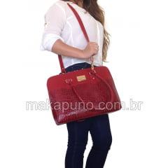 Pasta Executiva Feminina em couro vermelho para notebook de 14 polegadas